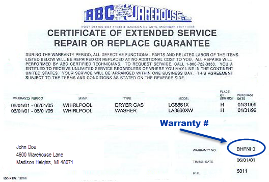 Blue Certificate - Warranty #