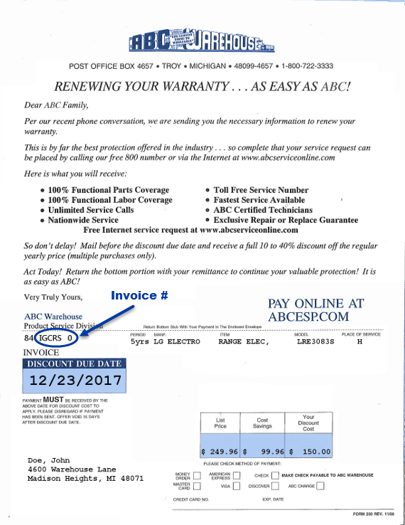 Renew Warranty - Invoice #