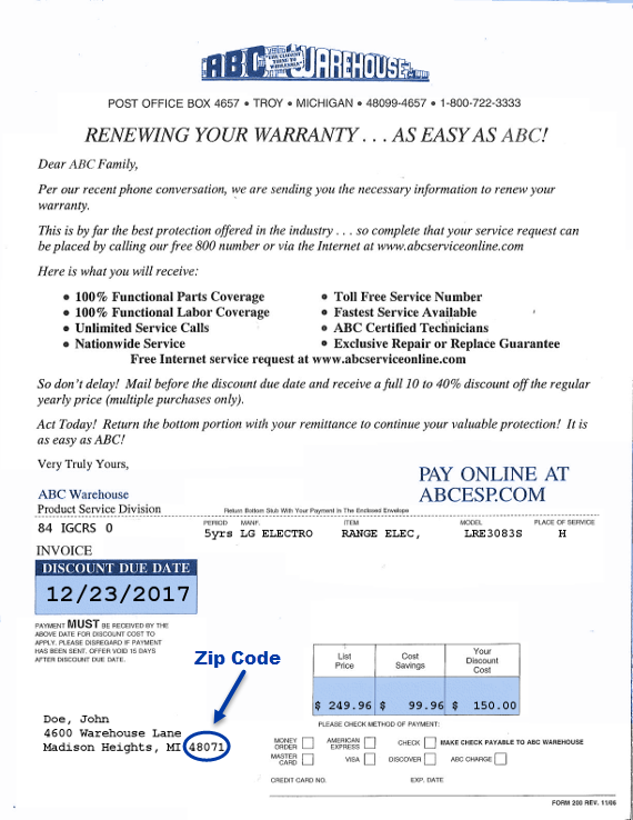 Renew Warranty - Zip Code